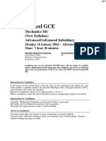 January 2002 QP - M1 Edexcel