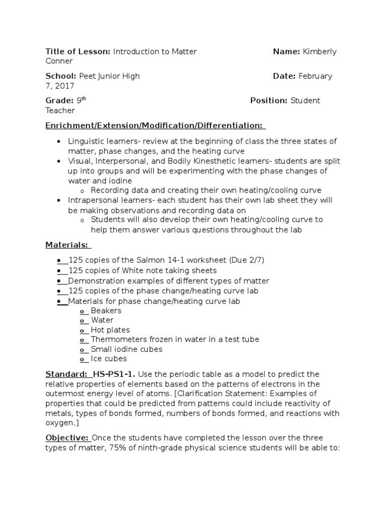 matter introduction lesson plan | Oxygen | Phase (Matter)