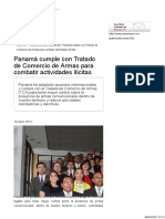 Panamá Cumple Con Tratado de Comercio de Armas Para Combatir Actividades Ilícitas