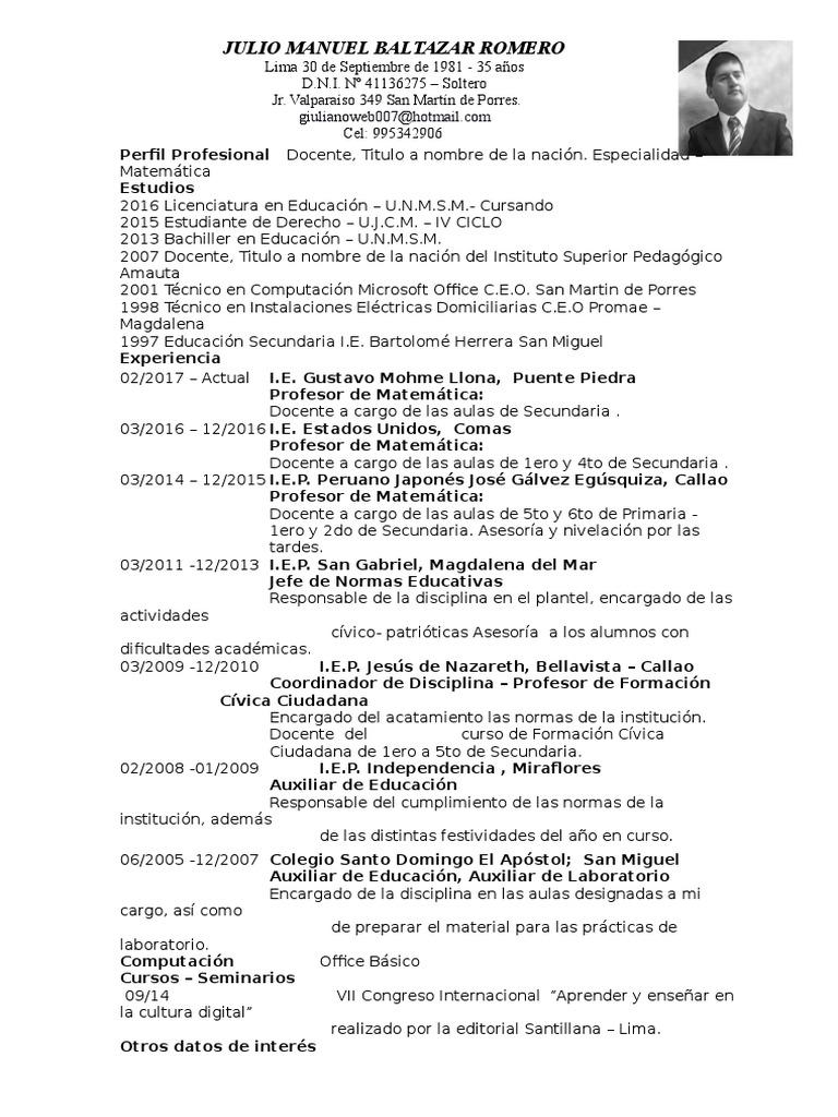 Curriculum Vitae Docente Julio Baltazar Romero 2 6   Educación secundaria   Compartir