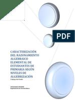Caracterización del razonamiento algebraico elemental de estudiantes de primaria según niveles de algebrización