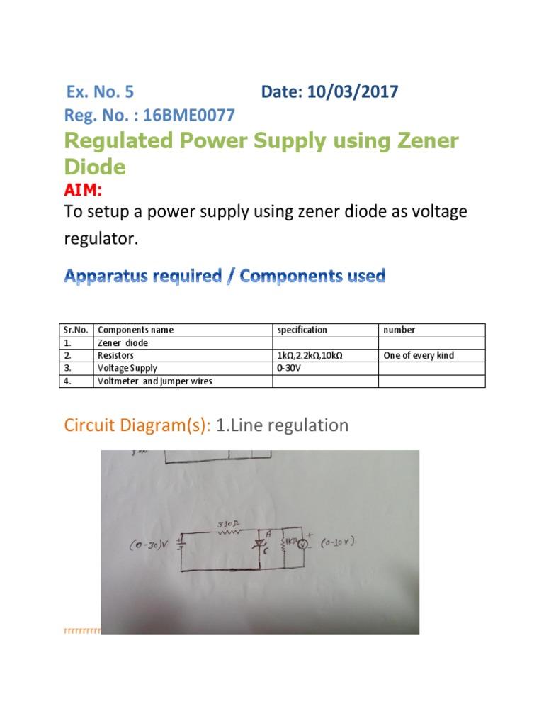 Zener Circuit Diagram Of 0 30v Regulated Power Supply