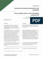 Causas y Consecuencias de La Corrosion de Una Tubería de Acero Galvanizado