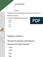 CHME 314 Lecture 02 Mole Balances