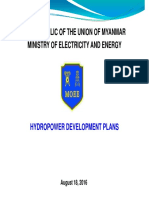 The Republic of the Union of Myanmar Ministry of Electricity and Energy Hydropower Development Plans