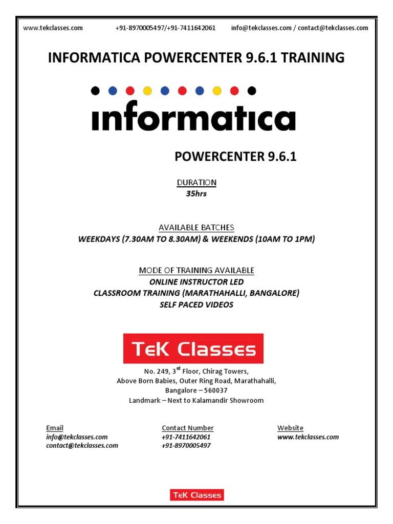 Informatica Powercenter Training Course Content Pdf Data Warehouse