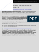 Machines Mechanisms Applied Kinematic Analysis Solutions