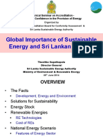 Global Importance of Sustainable Energy and Sri Lankan Context