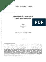 Jacobi Cartas sobre la doctrina de Spinoza al Señor Moses Mendelssohn