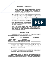 Secretary's Certificate of Board Resolution on Bank Signatories