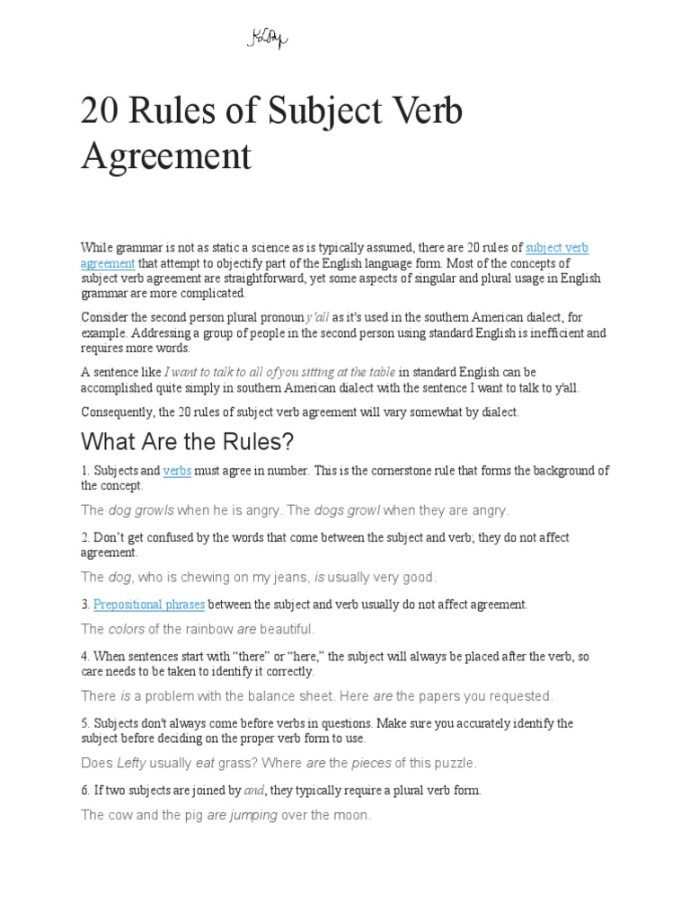 20 Rules Of Subject Verb Agreement Grammatical Number English