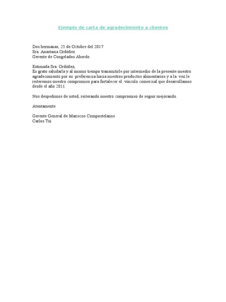 Ejemplo De Carta De Agradecimiento A Clientes