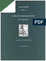 REYNE, Gérard. CINQ ÉTUDES DE STYLE pour guitare. Lyon, alma (2017)