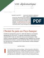 Choisir La Paix Au Pays Basque, Par Brian Currin (Le Monde Diplomatique, Juin 2011)