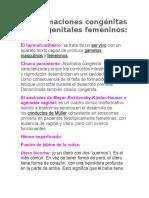 Malformaciones Congénitas en Los Genitales Femeninos