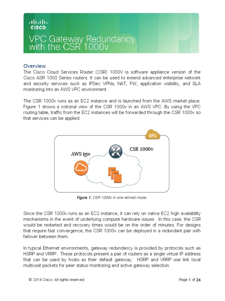 VPC Gateway Redundancy With the CSR 1000v v1 2   Ip Address
