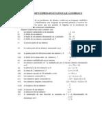 Lenguaje Comun Expresado Como Lenguaje Algebraico