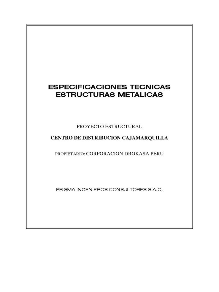 Especificaciones Tecnicas Estructuras Metalicas Drokasa