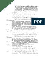 Motion, Momentum, Forces and Newton's Laws Unit Plans