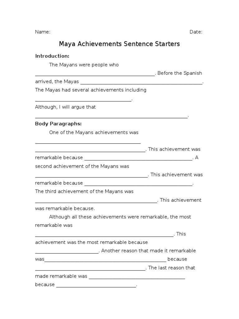 Dating sentence starters