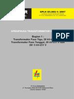SPLN D3.002!1!2007 Spesifikasi Transformator Distribusi Trafo Fase Tiga Dan Tunggal