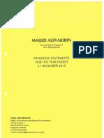Assyakirin Mosque Audited Financial Statements 2015