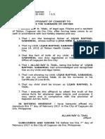 Affidavit Consent to Use Last Name - TAAL