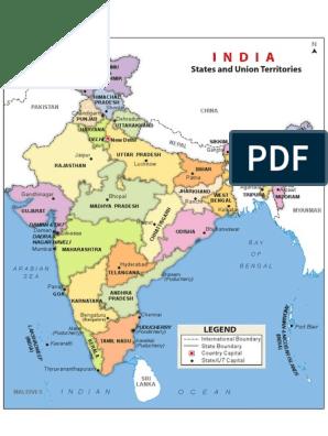 india-political-map pdf | Asia | South Asia