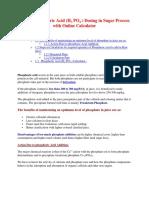 Phosphoric Acid (H3 PO4 ) Dosing in Sugar Process Industry