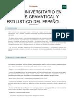 MÁSTER UNIVERSITARIO EN ANÁLISIS GRAMATICAL Y ESTILÍSTICO DEL ESPAÑOL