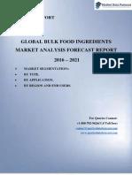 Extensive Market Research Report on Global Bulk Food Ingredients Market 2016-2021