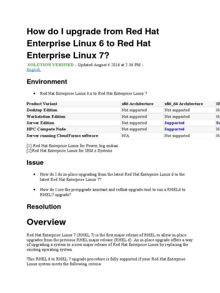 How Do I Upgrade From Red Hat Enterprise Linux 6 to Red Hat