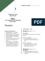 Cheltenham Girls 2011 Physics Trial + Solutions