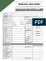 CS Form No. 212 Revised Personal Data Sheet 2017