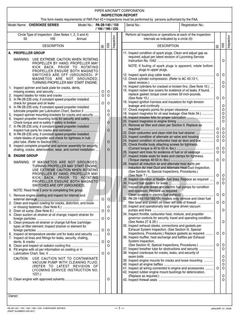 201508198-Piper-inspection-report pdf | Propeller | Carburetor