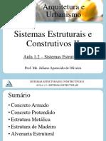 Sistemas Estruturais e Construtivos II - Aula 1.2 - Sistemas Estruturais