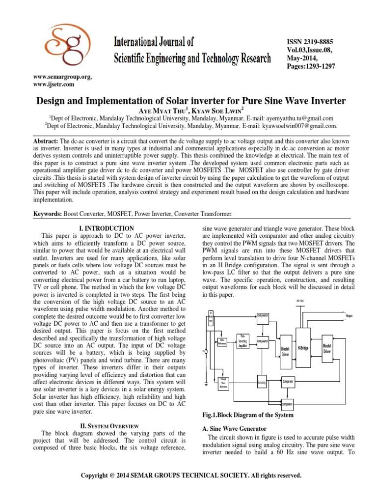 543621ijsetr1064 221 Power Inverter Operational Amplifier Pure Sine Wave Circuit Transistor Stage