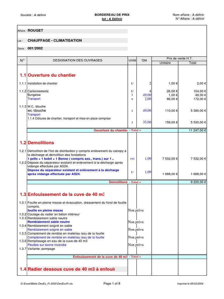 BTP - Exemple Devis | Éléments architecturaux | Matériaux ...