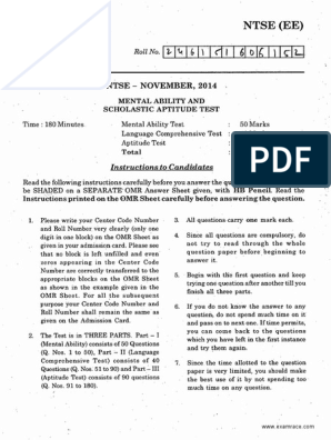 Ntse Stage 1 Andhra Pradesh Solved Paper 2014 Tests Test