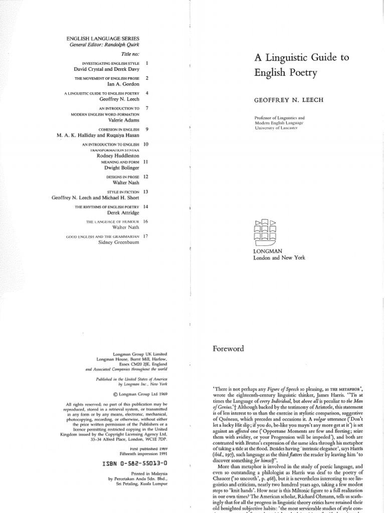 leech poetry metre poetry linguistics rh scribd com a linguistic guide to english poetry leech pdf a linguistic guide to english poetry leech pdf