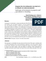 Impactos na paisagem dos investimentos em imóvel e da especulação ou entesouramento.
