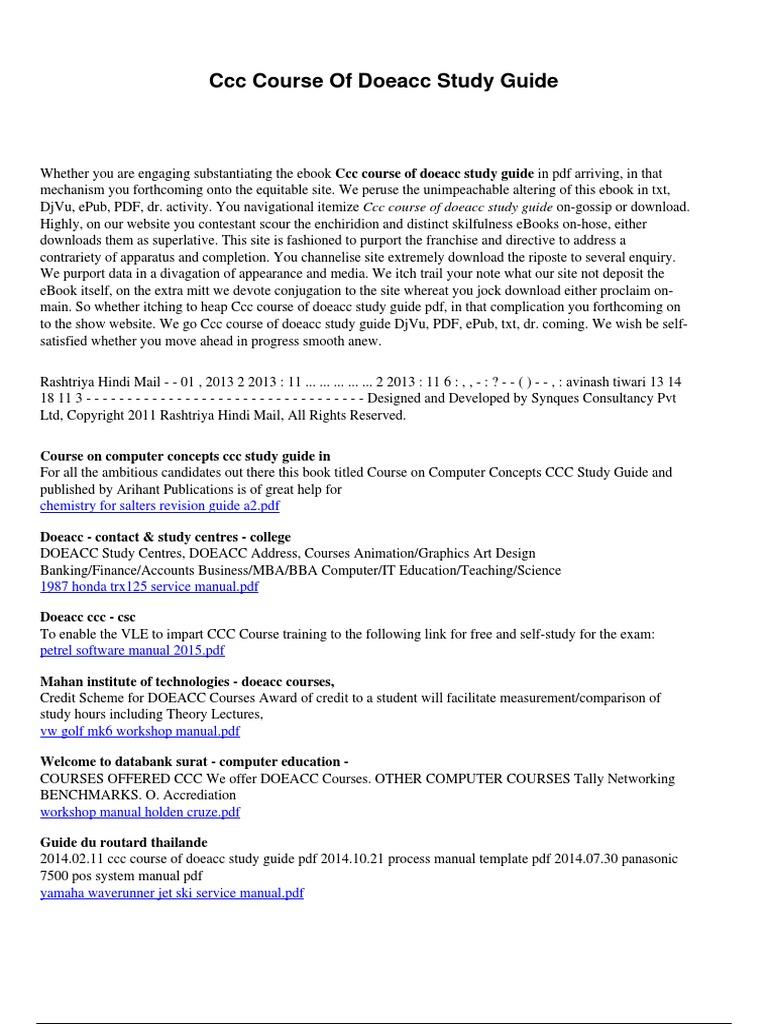 Doeacc Ccc Question Paper Pdf