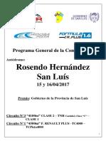 """Cronograma para el """"Gran Premio Gobierno de la Provincia de San Luis"""""""