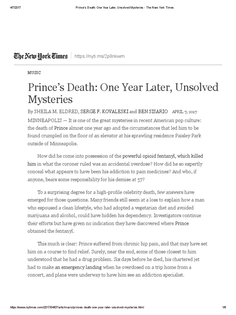 ee174564a Prince s Death  One Year Later