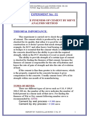 fineness of cement by sieve analysis doc | Concrete | Cement