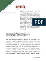Queja y activación de protocolo contra violencia política