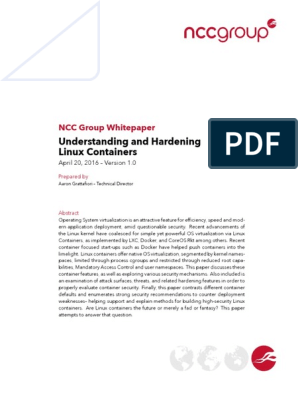 NCC Group Understanding Hardening Linux Containers-1 0