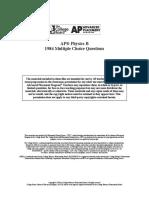AP PHYSICS B 1984 MC + Solutions