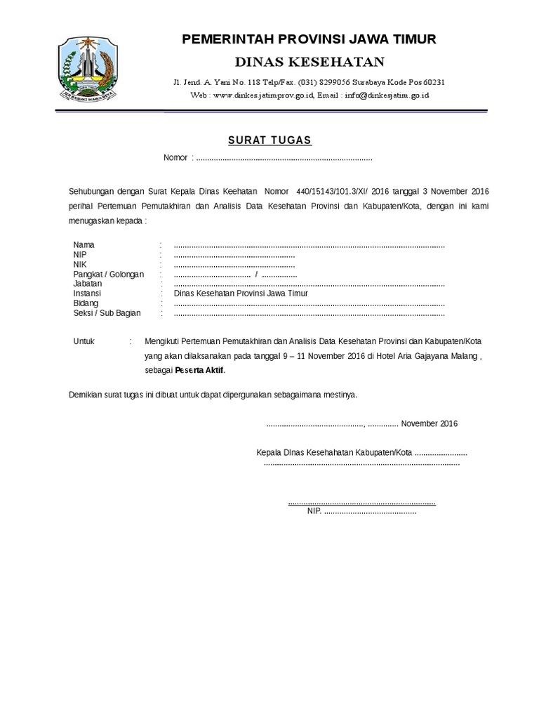 06 Contoh Surat Tugas Peserta Kab Kota Rs
