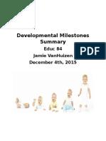 developmental milestones summary